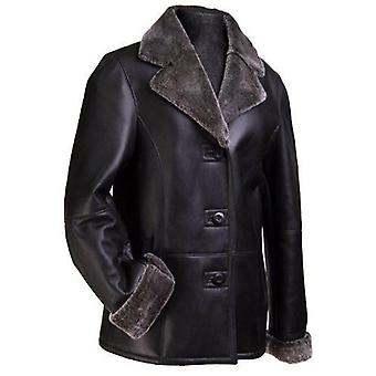 Womens Polish Leather Jacket W/ Faux Fur