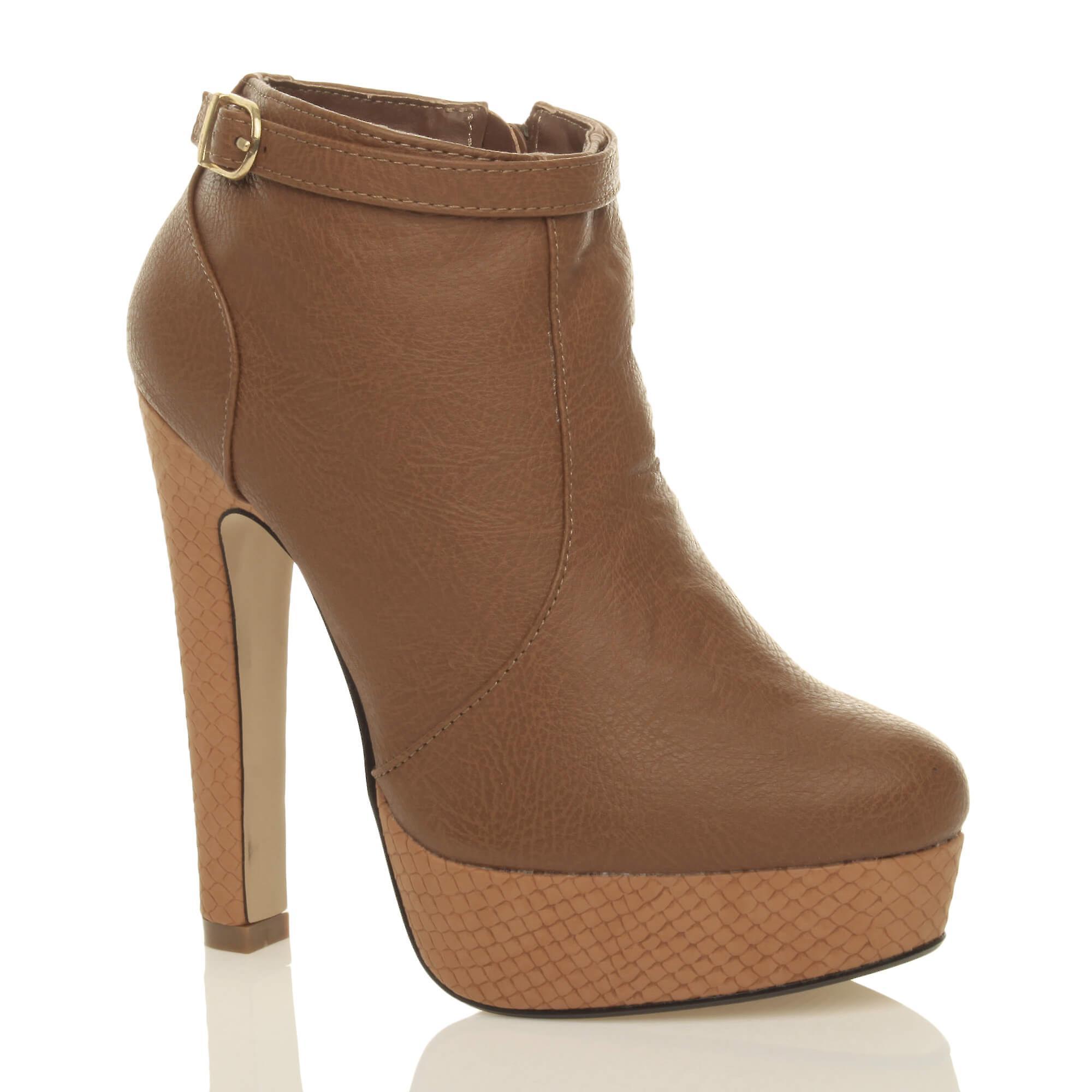Ajvani Womens Plattform Block high Heel Schnalle Reißverschluss Knöchel Schuh Stiefel Stiefeletten