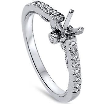 1 / 6ct Diamanten Engagement Einstellung 14K White Gold