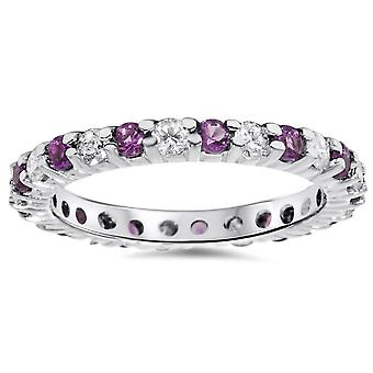 1 1 / 2ct Diamond & Amethyst eeuwigheid stapelbare Ring 14K witgoud