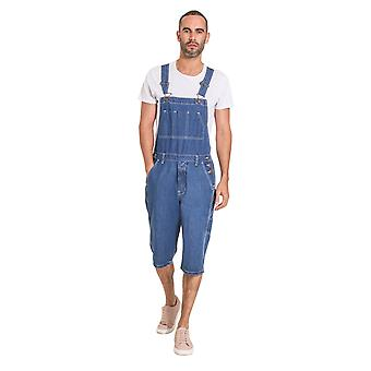 Mens Stonewash Denim Dungaree Shorts Bib Overall Shorts for men