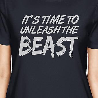 Unleash Beast Womens Navy Cool Cotton T-Shirt Humorous Gift Tshirt