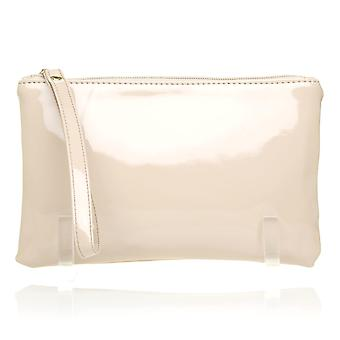 CHEEKY Nude Patent PU Leather Clutch Bag/Purse With Wrist Strap