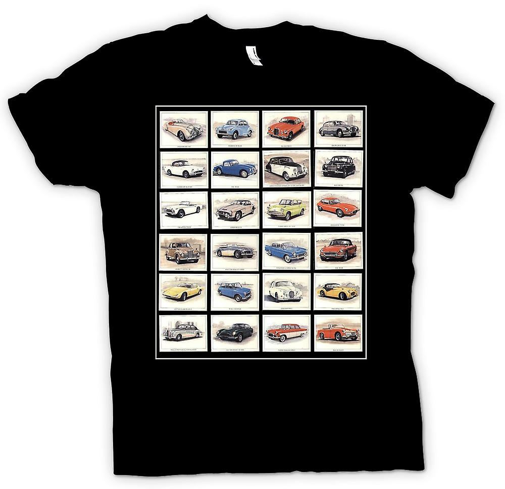 Mens T-shirt - Classic Motor Car Collage - Poster