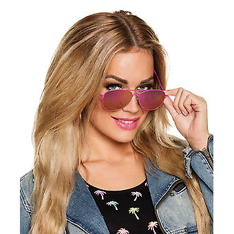 Adults Pink Aviator Mirror Sunglasses Fancy Dress Costume Accessory