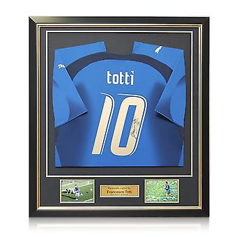 Francesco Totti Signed Italy 2006 World Cup Winners Football Shirt In Deluxe Black Frame With Gold Inlay