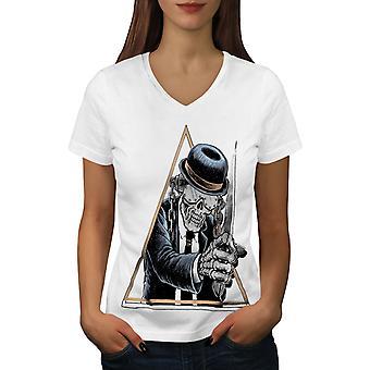 Dapper Killer Zombie Frauen WhiteV-Neck T-shirt   Wellcoda