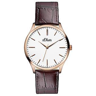 s.Oliver 男性の手首腕時計アナログ クオーツ革 IP ロゼなど-15144-LQR