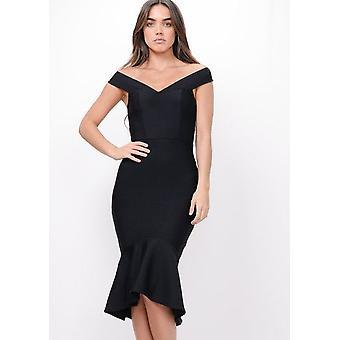Figurbetontes Bandage Rüschen Saum Fischschwanz Bardot Midi Kleid schwarz