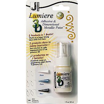 Jacquard Lumiere 3D Metallic Paint & Adhesive Blister Pk 1Oz-Clear, W/3 Plastic Tips