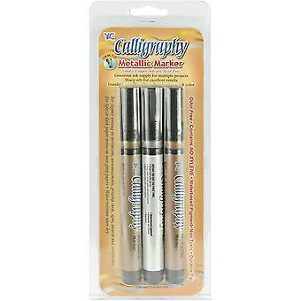 Calligraphy Metallic Markers 2mm 3/Pkg-Silver, Gold & Copper