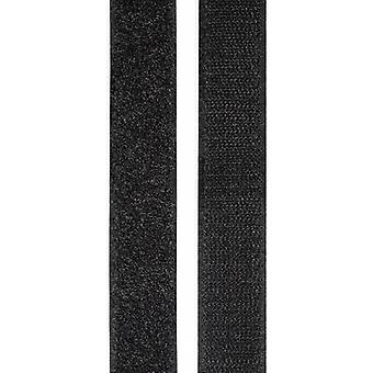 TOOLCRAFT KL25X2000C Hook-and-loop tape stick-on Hook and loop pad (L x W) 2000 mm x 25 mm Black 1 pair
