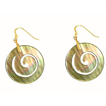 Gemshine - ladies - earrings - gold plated - mother of Pearl - Gold - 4 cm