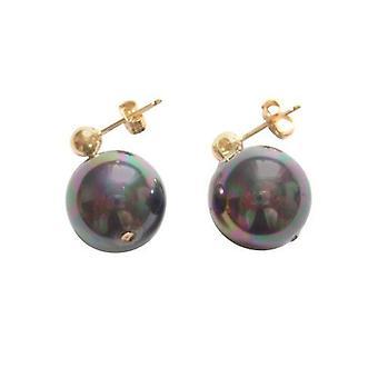Perlen Ohrringe Tahiti Grau HENNY Ohrstecker Perlenohrstecker vergoldet