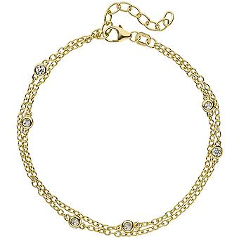 2-row bracelet 925 sterling silver gold plated 21 cm 5 cubic zirconia verkürzbar