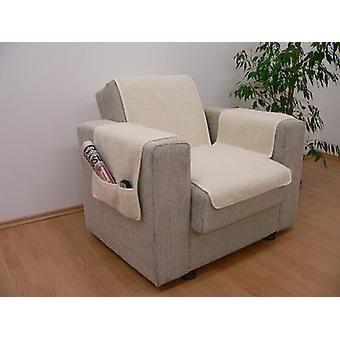 Armrests - and armchair saver set with 2 pockets MALI color: natural wool