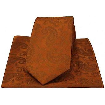 David Van Hagen Luxury Paisley Tie and Handkerchief Set - Burnt Orange