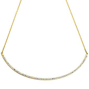 Necklace with heart pendant stainless steel gold colors with crystals 50 cm