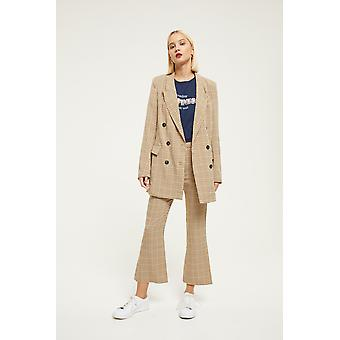 Ghospell Check Longline Double Breasted Blazer