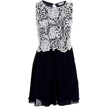 Damer spets kontrast chiffong Flare plisserad öppen rygg Women's Party klänning