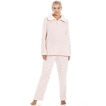Camille Luxurious Pink Supersoft Fleece High Neck Silver Heart Pyjama Set