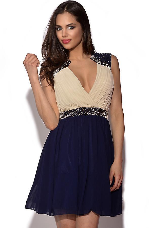 Little Mistress Embellished Crossover Prom Dress