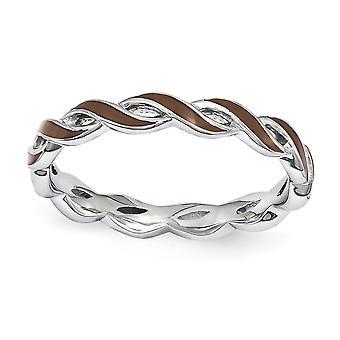 Sterling Silver polerat rodium-plated stapelbar uttryck brun emalj Ring - Ring storlek: 5 till 10