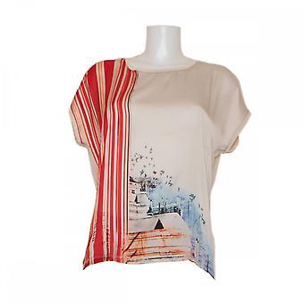 Oui Women's Printed Silky Drop Sleeve Top