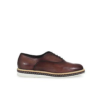 SANTONI BROWN DEERSKIN LACE UP