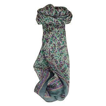 Pañuelo cuadrado de seda tradicional de Mora Ulla Charcoal de Pashmina y seda