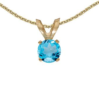 10k Yellow Gold Round Blue Topaz Pendant with 16
