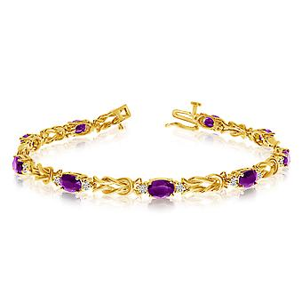 14k Yellow Gold Natural Amethyst And Diamond Tennis Bracelet