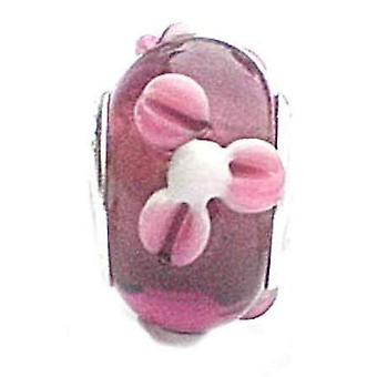 TOC BEADZ Pink Flower 8mm Glass Slide-on Bead