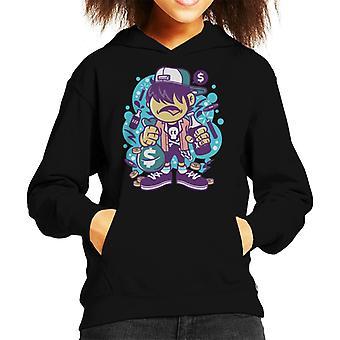 Skater Guy With Swag Bag Kid's Hooded Sweatshirt