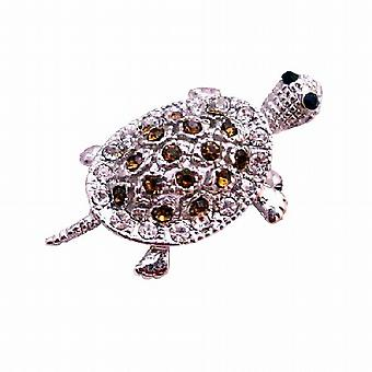 Silver Casting Turtle Tag Brooch Pin & Pendant in Smoked Topaz Crystal