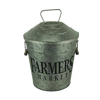 Galvanized Metal Decorative Vintage Farmers Market Pail