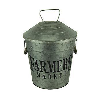 Mercado de agricultores Vintage decorativos metálicos galvanizados cubo