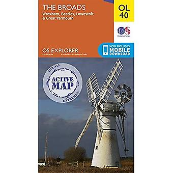 The Broads: Wroxham, Beccles, Lowestoft & Great Yarmouth (OS Explorer Active Map)