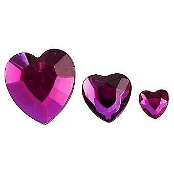 Assorted Purple Heart Shaped Acrylic Rhinestones - 310pk