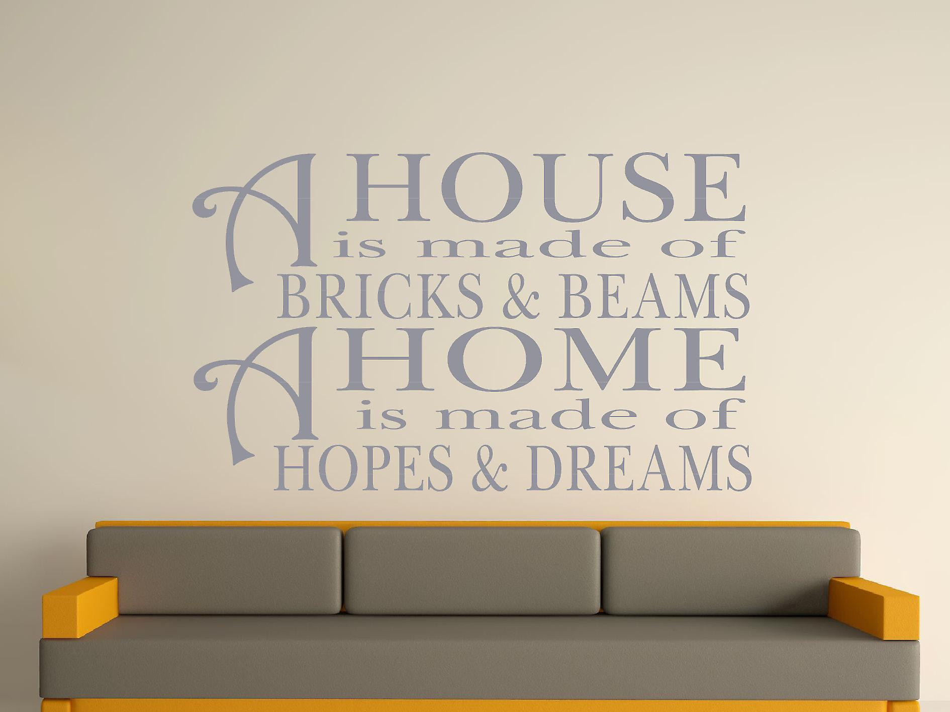 A House Is Made Of Bricks And Beams v2 Wall Art Sticker - Silver