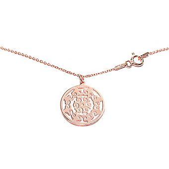 Ah! Bijoux 18K or rose vermeil sur argent sterling ouvert travail cercle collier, estampillé 925.