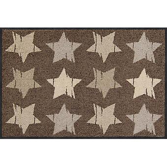 Salon lion doormat Wood stars nougat washable 50 x 75 cm