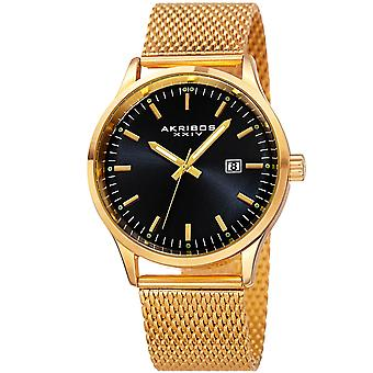 Akribos XXIV Men's Japanese Quartz Stainless Steel Mesh Bracelet Watch AK901YGB