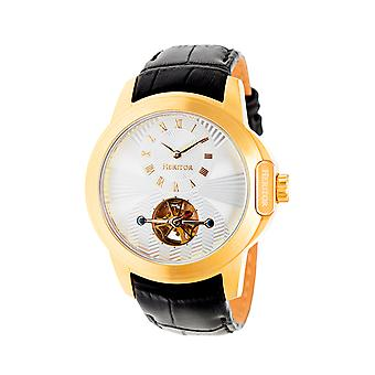 Heritor Automatic Windsor Semi-Skeleton Leather-Band Watch - Gold/Silver