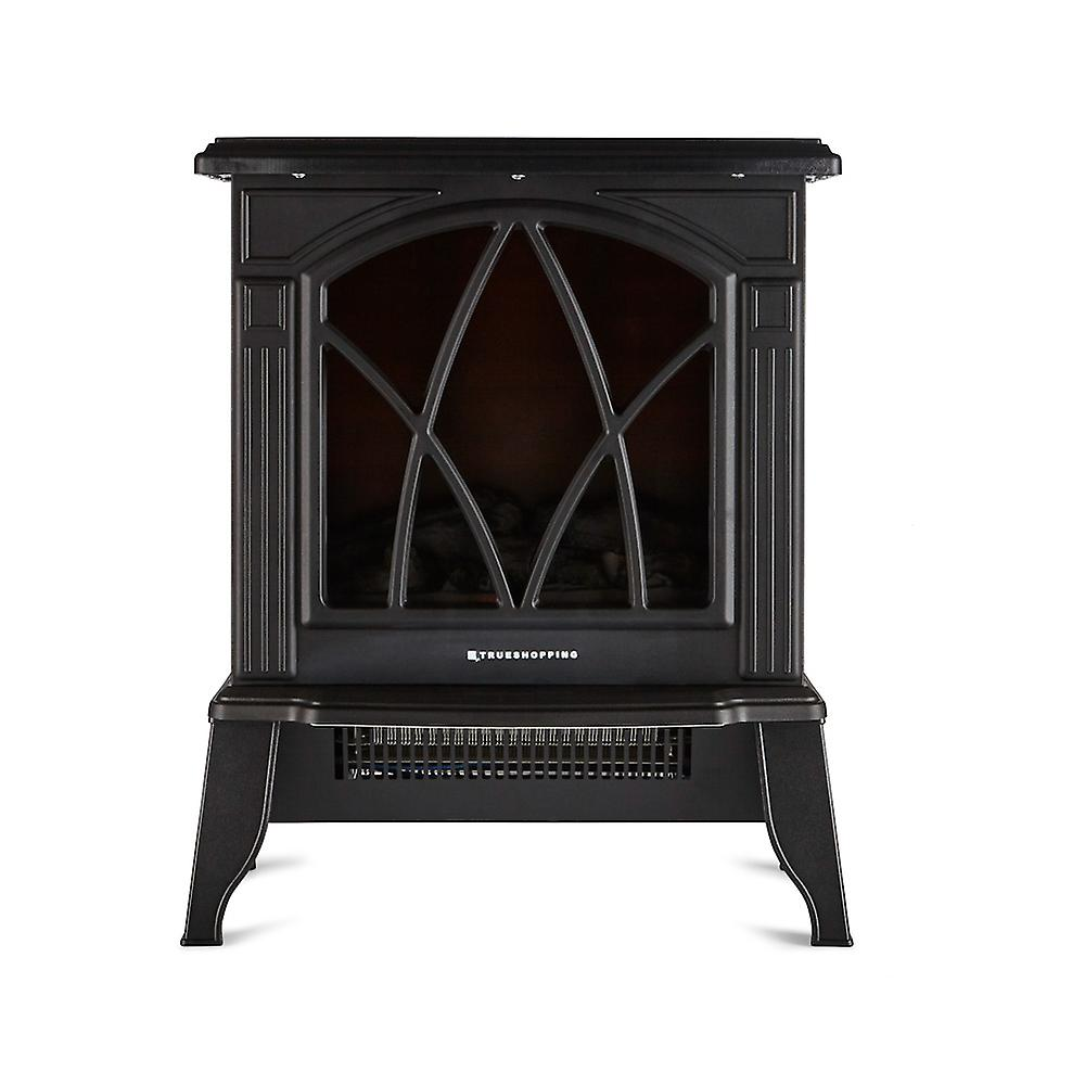 Freestanding Electric Wood Burning Flame Effect Fireplace Width 44cm 2000W Black