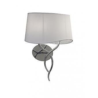 Lampe murale Mantra Ninette commutée 2 Light E14, Chrome poli avec ombre blanche ivoire