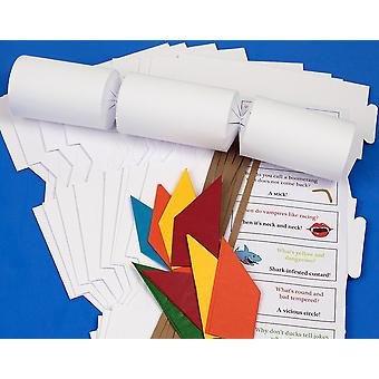 30 White 'Cheap as Chips' Make & Fill Your Own DIY Christmas Cracker Craft Kit