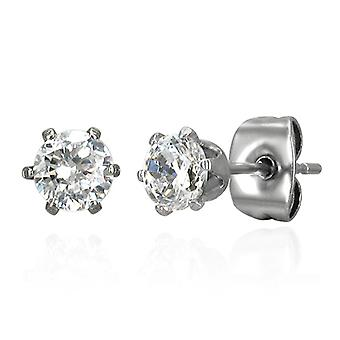 Urban Male Stainless Steel Stud Earrings with 5mm Round CZ