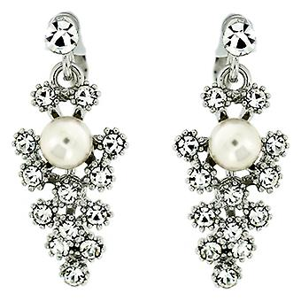 Clip On Earrings Store Precious Swarovski Crystal and Pearl Drop Clip on Earring