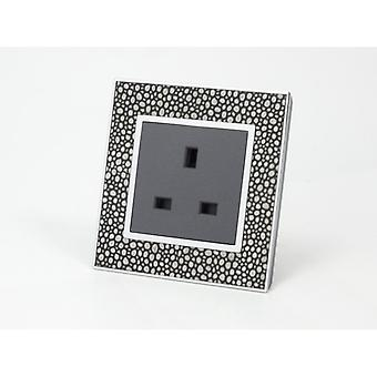 I LumoS AS Luxury Pearl Leather Single Unswitched Wall Plug 13A UK Sockets